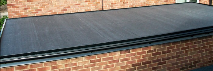 Rubber roof covering a garage